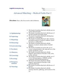 Advanced Matching-medical Fields Part 2 Worksheet