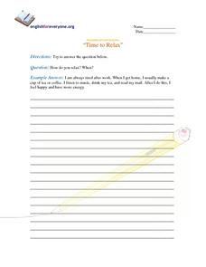 Beginning Question Response:  How You Relax Worksheet