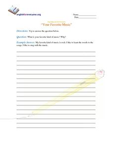 Beginning Question Response:  Your Favorite Music Worksheet