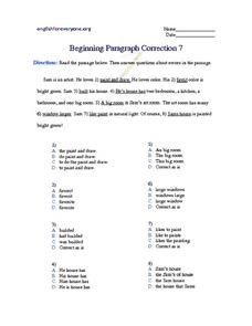 Beginning Paragraph Correction #7 Worksheet