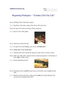 Country Life City Life Worksheet
