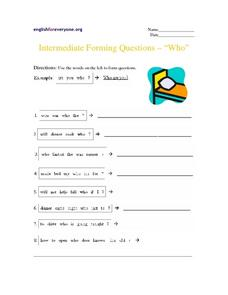 "Forming Questions ""Who"" Worksheet"