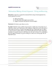 Intermediate Making a Formal Argument: Giving and Receiving Worksheet