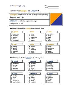 Intermediate Synonyms and Antonyms - Multiple Choice - Verbs 6 Worksheet