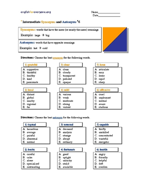 Intermediate Synonyms and Antonyms - Multiple Choice - Verbs