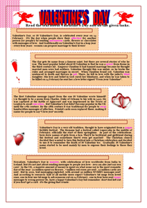 The History of Valentine's Day Worksheet