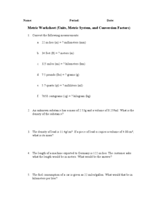 Metric Worksheet Worksheet