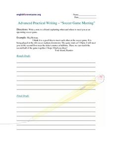 Soccer Game Meeting Writing Prompt