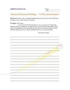 A note about Dinner Worksheet