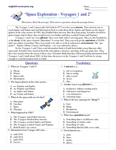 space exploration voyagers 1 and 2 worksheet for 4th higher ed lesson planet. Black Bedroom Furniture Sets. Home Design Ideas