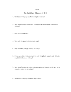The Outsiders: Chapters 10 & 11 Lesson Plan