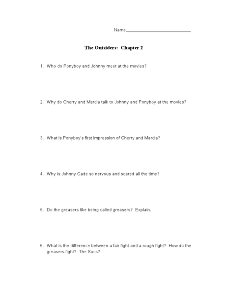 short essay questions for the outsiders Save your essays here so you can locate them quickly topics in this paper gang for those unfamiliar with the story told in the outsiders, here is a short.