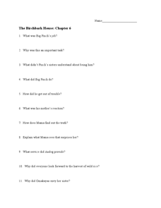The Birchbark House: Chapter 6 Worksheet