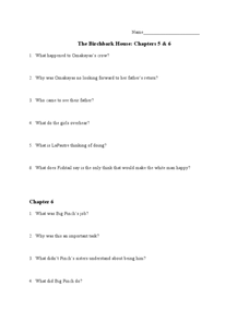The Birchbark House: Chapter 5 and 6 Worksheet