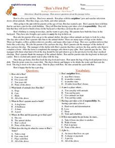 """Ben's First Pet"" Reading Comprehension- Short Stories Worksheet"