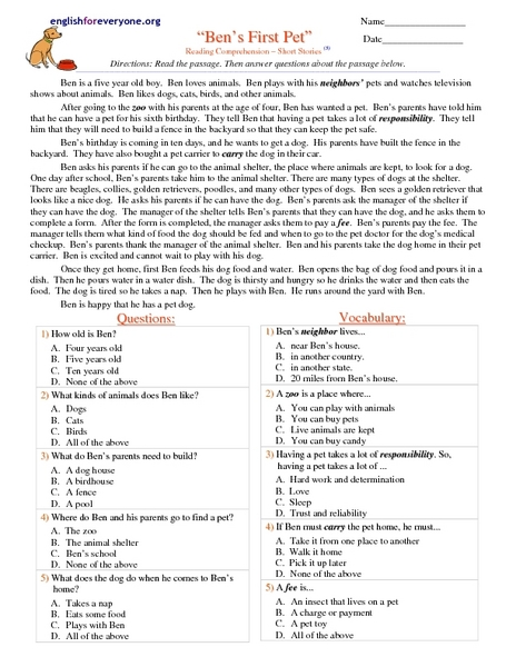 Short Stories With Multiple Choice Questions Lesson Plans