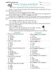 Family Vacation at the Beach Worksheet