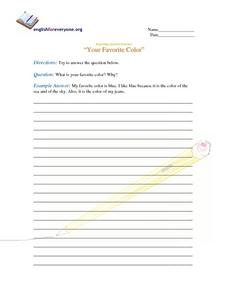 "Beginning Question Response- ""Your Favorite Color"" Worksheet"