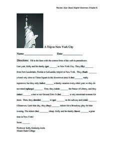 A Trip to New York City Worksheet
