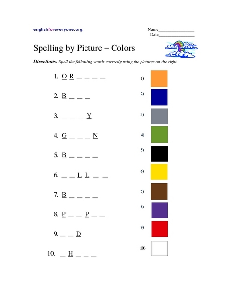spelling by picture colors worksheet for 3rd grade lesson planet. Black Bedroom Furniture Sets. Home Design Ideas