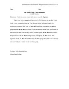 Article Review Worksheet - The World Trade Center Bombings Worksheet