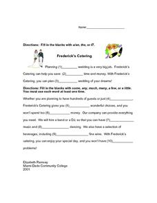 Frederick's Catering: a/an or the Worksheet