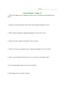 Roll of Thunder, Hear My Cry: Chapter 12 Lesson Plan