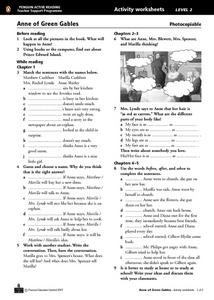 Anne of Green Gables Activity Sheet and Progress Test Worksheet