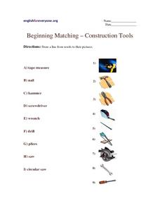 Beginning Matching-- Tools Worksheet