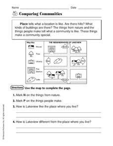 Comparing Communities Worksheet for 2nd - 3rd Grade | Lesson ...