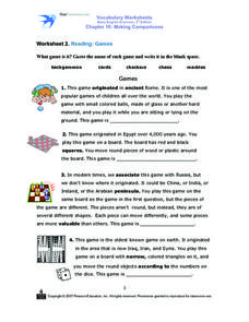 Reading: Games Worksheet