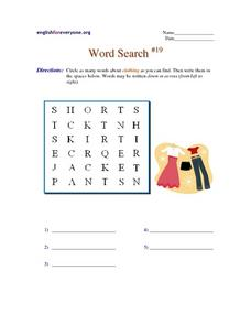 Word Search #19-  Clothing Worksheet