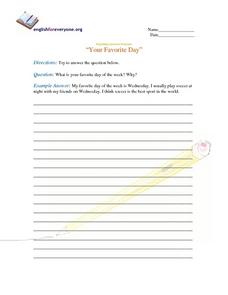 Beginning Question Response--Your Favorite Day Worksheet