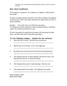 More About Conditional Verb Tenses Worksheet