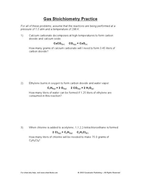 Stoichiometry Practice Worksheet Answers - Delibertad