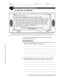 A Mission in Motion Worksheet