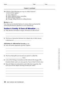 Gravity: A Force of Attraction Worksheet