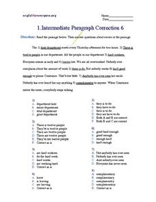 Intermediate Paragraph Correction #6 Worksheet