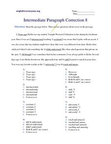 Intermediate Paragraph Correction #8 Worksheet