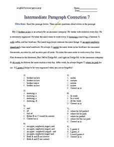 Intermediate Paragraph Correction #7 Worksheet