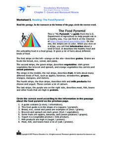 Vocabulary Worksheets - Reading: The Food Pyramid Worksheet