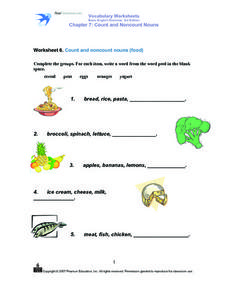 Count and Non-count Nouns- Food Worksheet