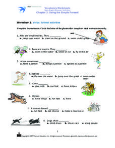Using the Simple Present Verb Tense- Animal Activities Worksheet
