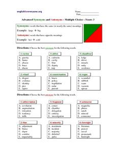 Advanced Synonyms and Antonyms - Multiple Choice - Nouns 3 Lesson Plan