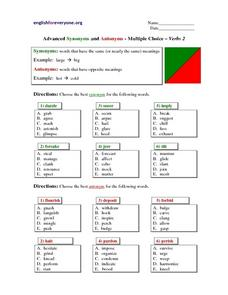 Advanced Synonyms and Antonyms - Multiple Choice - Verbs 2 Lesson Plan