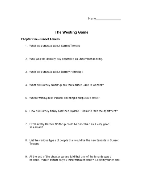 The Westing Game: Chapters 1-4 10th - 11th Grade Worksheet ...