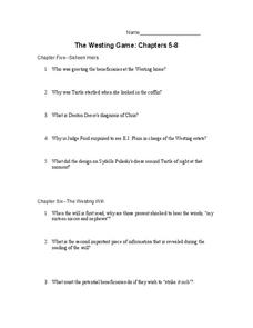 The Westing Game: Chapters 5-8 Worksheet for 10th - 11th Grade ...