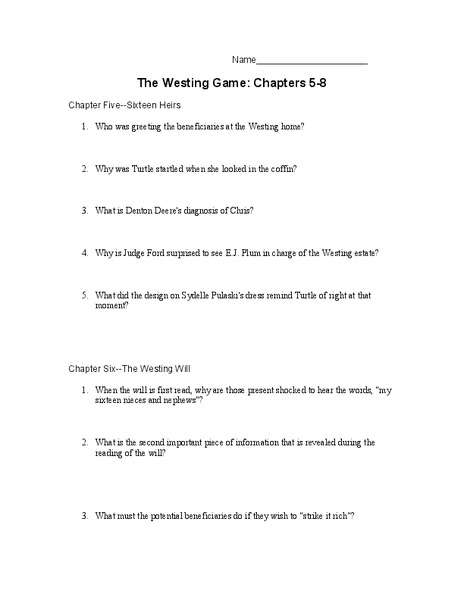 The Westing Game: Chapters 5-8 10th - 11th Grade Worksheet ...