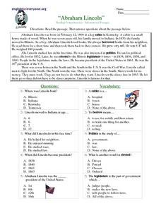 "Reading Comprehension- Informational Passages ""Abraham Lincoln"" Worksheet"