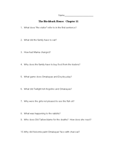 The Birchbark House: Chapter 11 Lesson Plan